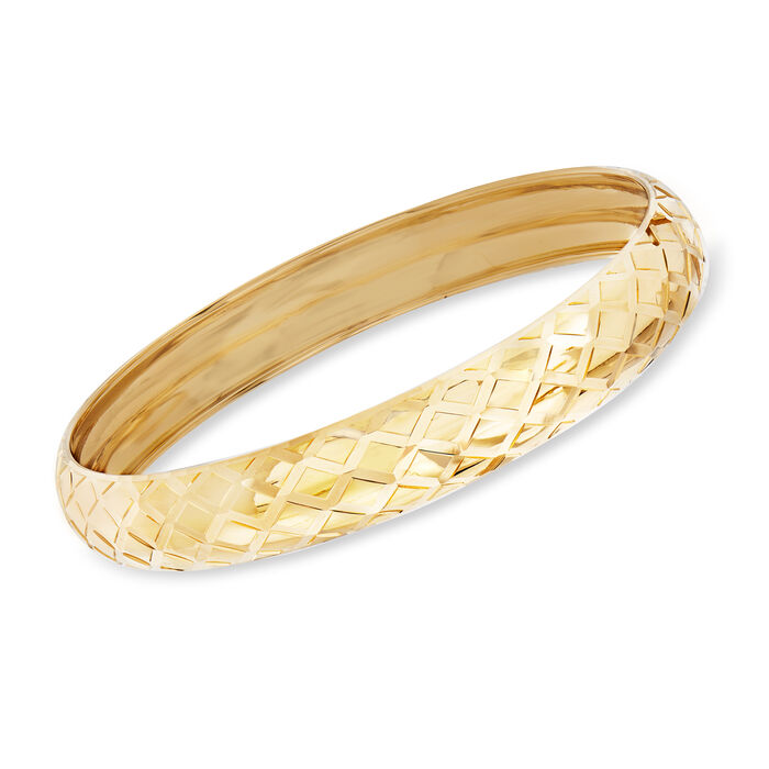 "Italian 14kt Yellow Gold Quilted Bangle Bracelet. 7.5"", , default"