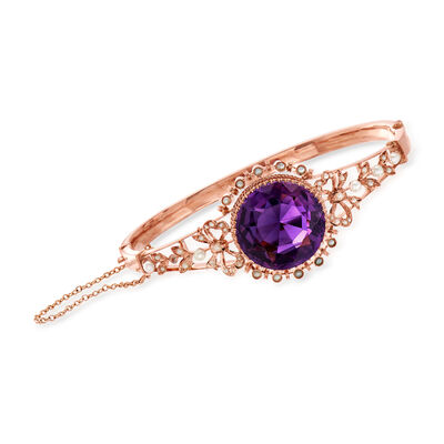 C. 1930 Vintage 12.75 Carat Amethyst Bangle Bracelet with Cultured Pearls in 10kt Rose Gold