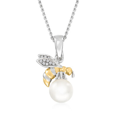 8-8.5mm Cultured Pearl Bumblebee Pendant Necklace with White Topaz Accents in Two-Tone Sterling Silver