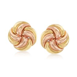 C. 1980 Vintage 18kt Yellow Gold Floral Swirl Earrings , , default