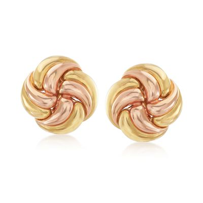 C. 1980 Vintage 18kt Yellow Gold Floral Swirl Clip-On Earrings, , default