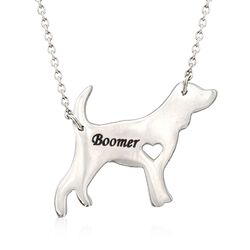 "Sterling Silver Beagle Dog Name Necklace. 19"", , default"
