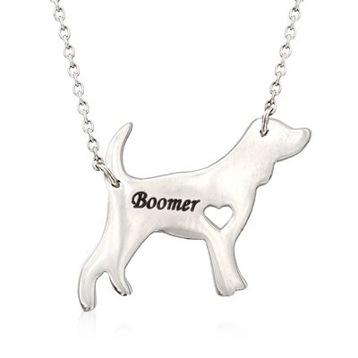 Sterling Silver Beagle Dog Name Necklace, , default