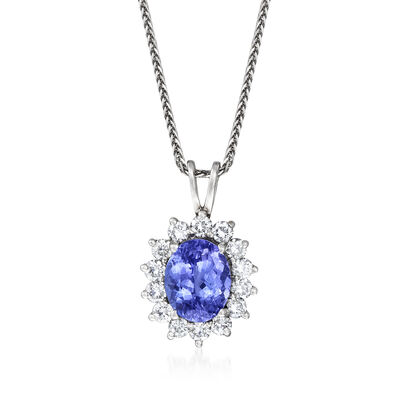 C. 1990 Vintage 3.35 Carat Tanzanite and 1.00 ct. t.w. Diamond Pendant Necklace in 14kt White Gold