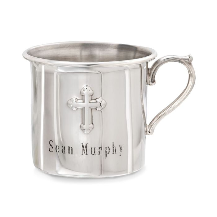 Reed & Barton Pewter Cross Baby Cup, , default