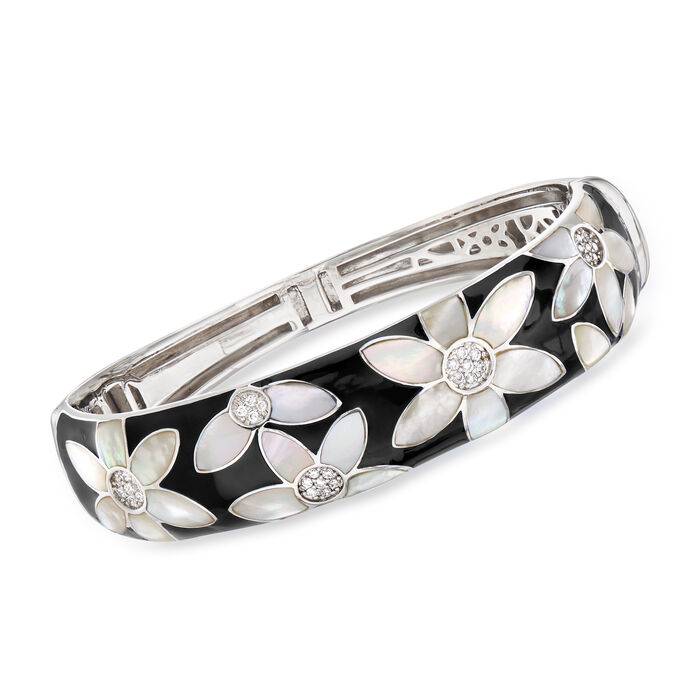 "Belle Etoile ""Moonflower"" Black Enamel and Mother-Of-Pearl Bangle Bracelet with .48 ct. t.w. CZ in Sterling Silver. 7.5"", , default"