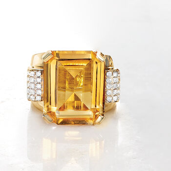 16.00 Carat Citrine and .43 ct. t.w. Diamond Ring in 14kt Yellow Gold