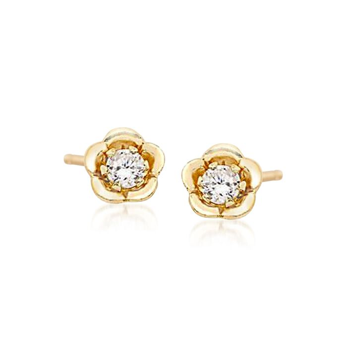 Child's .10 ct. t.w. CZ Stud Earrings in 14kt Yellow Gold, , default