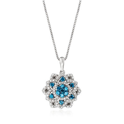 .50 ct. t.w. Blue and White Diamond Flower Pendant Necklace in Sterling Silver, , default