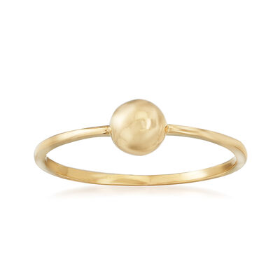 18kt Yellow Gold Puffed Circle Ring, , default