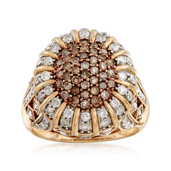 C. 1990 Vintage 1.70 ct. t.w. White and Champagne Diamond Ring in 10kt Yellow Gold, , default