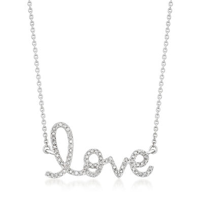 ".17 ct. t.w. Diamond ""Love"" Necklace in 14kt White Gold, , default"