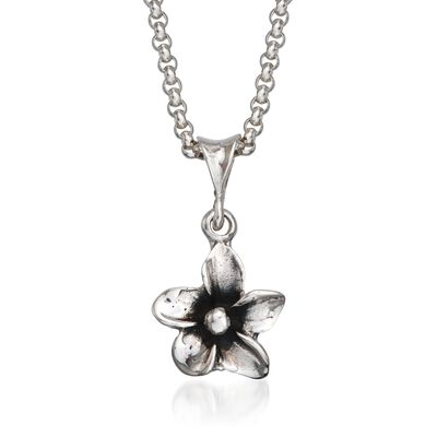 "Zina Sterling Silver ""Hibiscus"" Floral Pendant Necklace, , default"