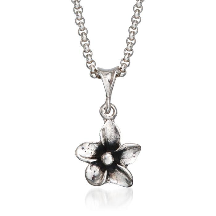 "Zina Sterling Silver ""Hibiscus"" Floral Pendant Necklace. 17"", , default"