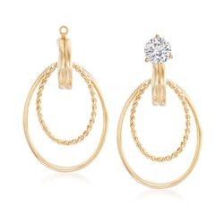 14kt Yellow Gold Double Oval Drop Earring Jackets, , default