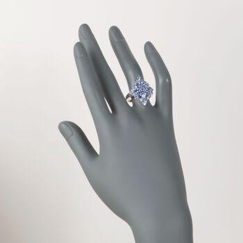 2.70 ct. t.w. Tanzanite Flower Burst Ring in Sterling Silver, , default