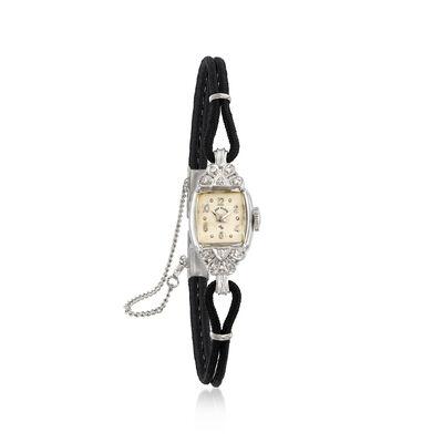 C. 1950 Vintage Elgin Women's .10 ct. t.w. Diamond Mechanical 13mm Watch in 14kt White Gold, , default
