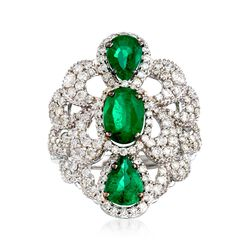 2.20 ct. t.w. Emerald and 1.15 ct. t.w. Diamond Scalloped Ring in 18kt White Gold, , default