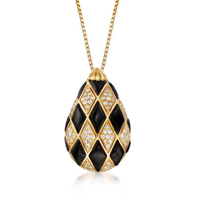 C. 1990 Vintage Black Onyx and 1.60 ct. t.w. Diamond Pendant Necklace in 14kt Yellow Gold, , default
