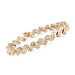 "C. 1990 Vintage 4.00 ct. t.w. Channel-Set Diamond Curvy Bracelet in 14kt Yellow Gold. 7"", , default"