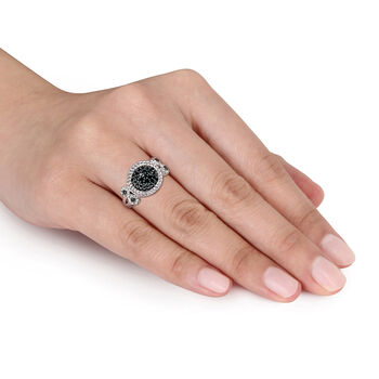 .47 ct. t.w. Black Pave Diamond Halo Ring in Sterling Silver. Size 5, , default