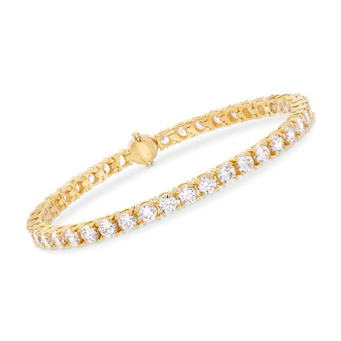 9.00 ct. t.w. CZ Tennis Bracelet in 18kt Gold Over Sterling, , default