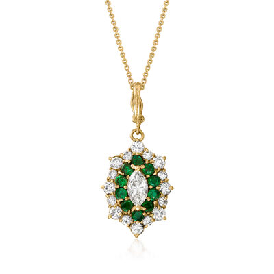 C. 1990 Vintage 1.62 ct. t.w. Diamond and .70 ct. t.w. Emerald Pendant Necklace in 18kt Yellow Gold