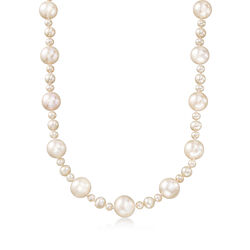 """4.5-13mm Cultured Pearl Necklace With Sterling Silver. 18"""", , default"""