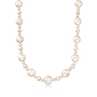 4.5-13mm Cultured Pearl Necklace with Sterling Silver, , default
