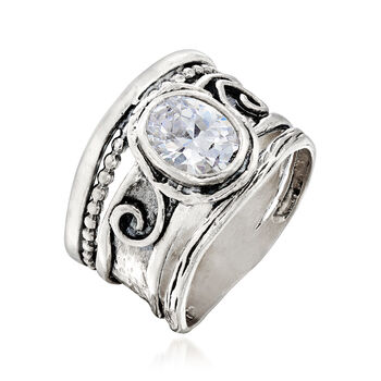 1.25 Carat CZ Scrollwork Ring in Sterling Silver, , default