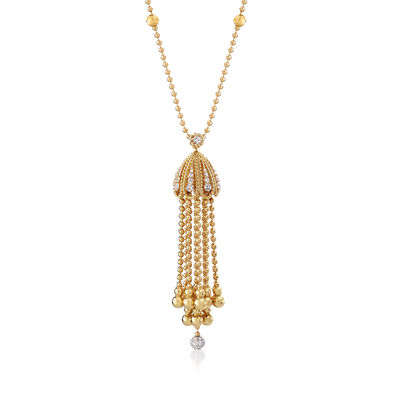 "Roberto Coin ""Barocco"" 1.00 ct. t.w. Diamond  Tassel Pendant Necklace in 18kt Yellow Gold"