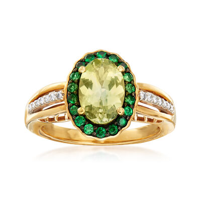 1.70 Carat Green Tanzanite and .35 ct. t.w. Tsavorite Ring in 18kt Yellow Gold