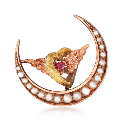 C. 1920 Vintage Cultured Pearl and Garnet Winged Heart and Moon Pin in 10kt Yellow Gold, , default