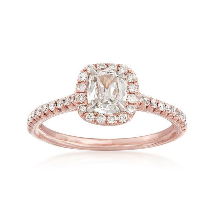 Henri Daussi .88 ct. t.w. Diamond Halo Engagement Ring in 14kt Rose Gold, , default