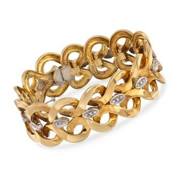 "C. 1950 Vintage .50 ct. t.w. Diamond Open Heart Link Bracelet in 18kt Yellow Gold. 7"", , default"