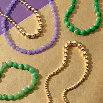 """7-14mm Jade Bead Necklace in 14kt Yellow Gold. 36"""""""