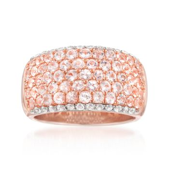 1.70 ct. t.w. Morganite and .50 ct. t.w. White Zircon Ring in 14kt Rose Gold Over Sterling, , default