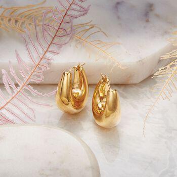 """Andiamo 14kt Yellow Gold Puffed Hoop Earrings. 1"""", , default"""