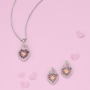 .40 ct. t.w. Rhodolite Garnet Heart-Shaped Pendant in Sterling Silver and 14kt Rose Gold