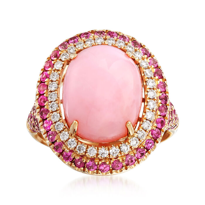 Pink Opal and 1.40 ct. t.w. Pink Sapphire Ring with .29 ct. t.w. Diamonds in 14kt Yellow Gold