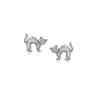 Sterling Silver Cat Earrings, , default