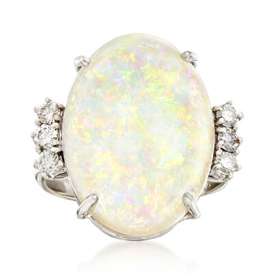 C. 1970 Vintage 19.5x14mm Oval Opal and .35 ct. t.w. Diamond Ring in 14kt White Gold, , default