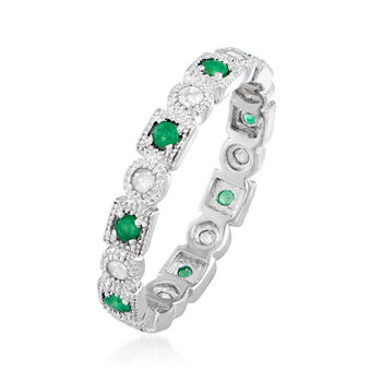 .25 ct. t.w. Diamond and .20 ct. t.w. Emerald Eternity Band in Sterling Silver