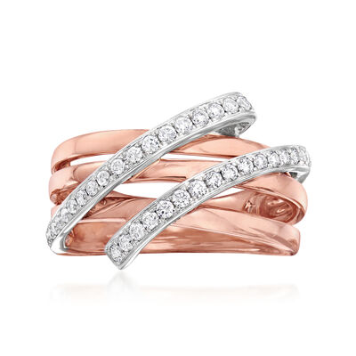 C. 1990 Vintage Piero Milano .41 ct. t.w. Diamond Highway Ring in 18kt Rose Gold, , default