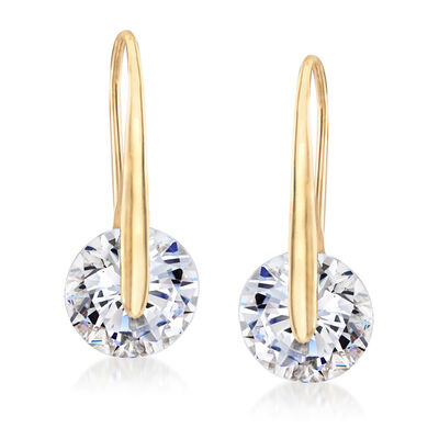 7.00 ct. t.w. CZ Drop Earrings in 18kt Gold Over Sterling, , default