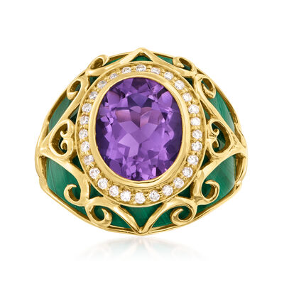 3.20 Carat Amethyst and .22 ct. t.w. Diamond Scrollwork Ring with Malachite in 14kt Yellow Gold