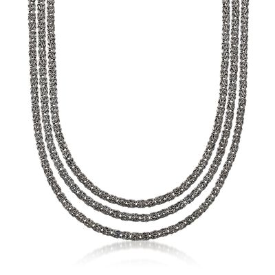 Sterling Silver Three-Row Byzantine Necklace in Black, , default