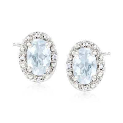 .80 ct. t.w. Oval Aquamarine Stud Earrings with Diamond Accents in Sterling Silver