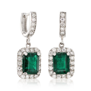 4.80 ct. t.w. Emerald and 1.40 ct. t.w. Diamond Drop Earrings in 14kt White Gold, , default