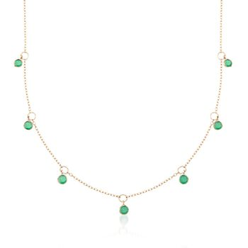 "2.25 ct. t.w. Emerald Station Necklace in 14kt Yellow Gold. 18"", , default"